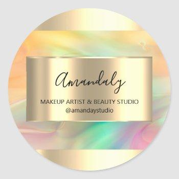 makeup beauty shop frame gold favor painted classic round sticker