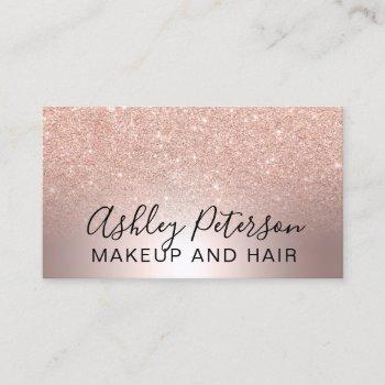 makeup elegant metallic marble rose gold glitter business card