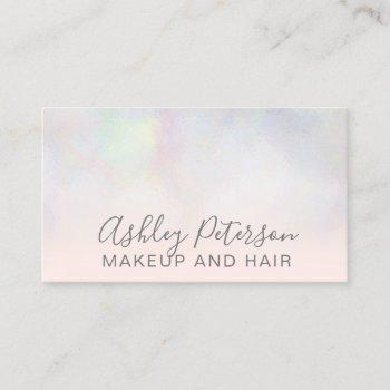 makeup elegant typography blush pink pearl nacre business card