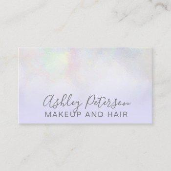 makeup elegant typography lavender pearl nacre business card