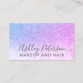 makeup elegant typography marble purple glitter business card