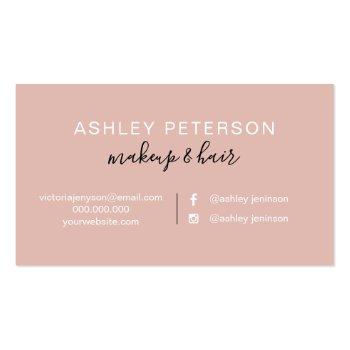Small Makeup Elegant Typography Marble Rose Gold Glitter Business Card Back View