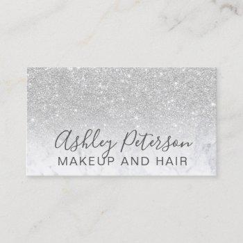makeup elegant typography marble silver glitter business card