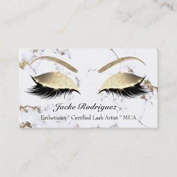 makeup eyebrow eyes lashes glitter white marble business card