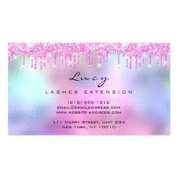 Small Makeup Eyebrow Hair Eyelash  Glitter Pink Drips Business Card Back View