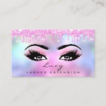 makeup eyebrow hair eyelash  glitter pink drips business card
