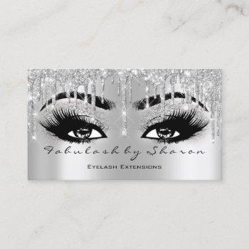 makeup eyebrow lash glitter drip grey silver spark business card