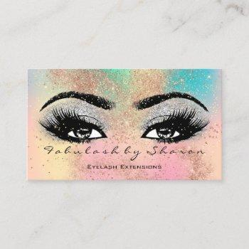 makeup eyebrow lash glitter pastel spark esthetici business card