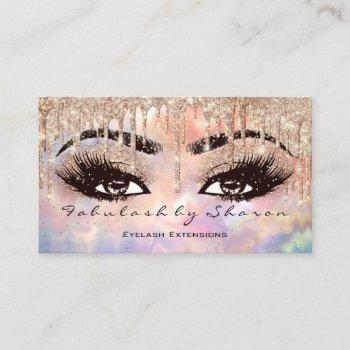 makeup eyebrow lashes glitter drip rose holograph business card