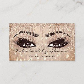 makeup eyebrow lashes glitter drip spark glam rose business card
