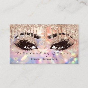 makeup eyebrow lashes wax drip rose holograph business card