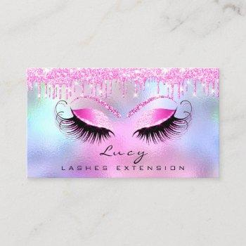 makeup eyebrow name lashes glitter pink drips business card