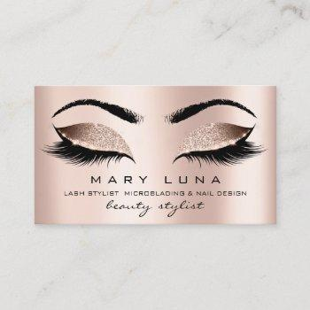 makeup eyebrows lashes rose gold pink blush business card