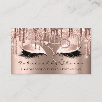 makeup eyelash hairdresser scissors rose gold skin business card
