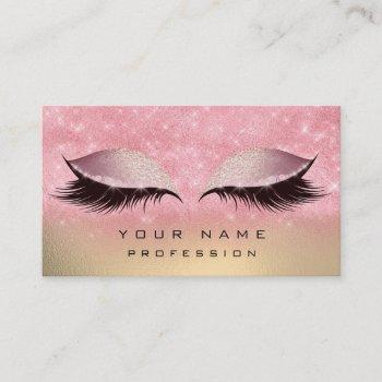 makeup gold blush pink glass eyes lashes glitter business card