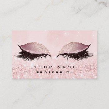 makeup gold blush pink glitter eye lash extension business card