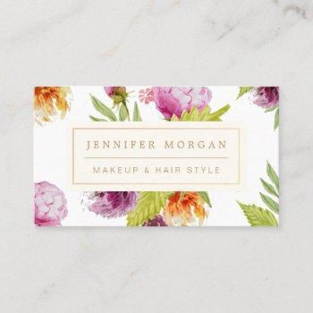 makeup hair style beauty salon feminine floral business card