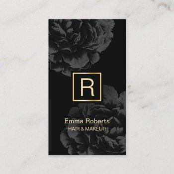 makeup & hair stylist monogram elegant dark floral business card