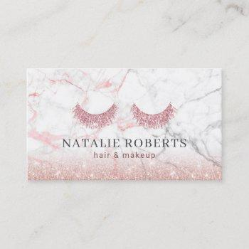 makeup & hair stylist rose gold glitter marble business card