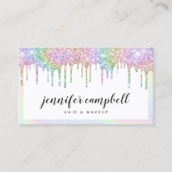 makeup holographic unicorn glitter drips white business card