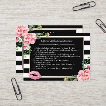 makeup lips instruction tips - pink floral stripes business card