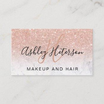 makeup monogram marble rose gold glitter script business card