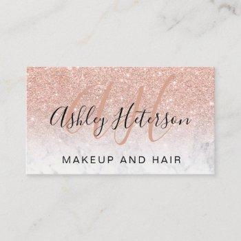 makeup monogrammed marble rose gold glitter script business card