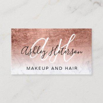 makeup monogrammed rose gold foil marble script business card