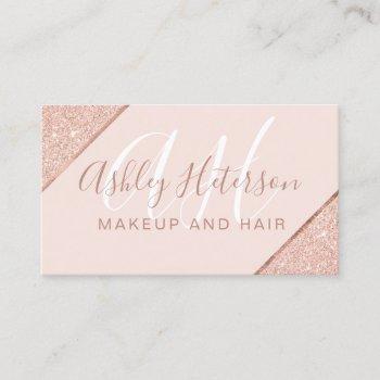 makeup monogrammed rose gold glitter stripe pink business card