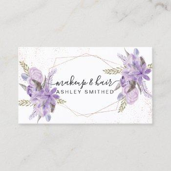 makeup purple floral watercolor rose gold frame business card