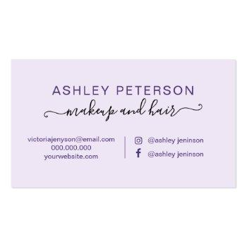 Small Makeup Purple Floral Watercolor Rose Gold Frame Business Card Back View