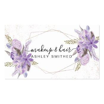 Small Makeup Purple Floral Watercolor Rose Gold Frame Business Card Front View