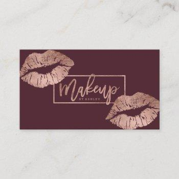 makeup typography lips faux rose gold burgundy business card