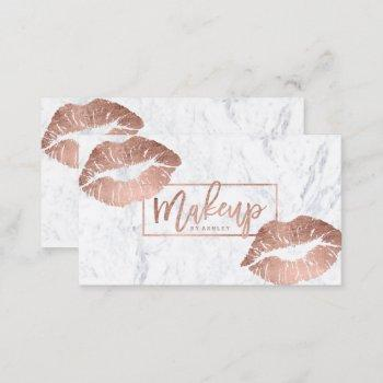 makeup typography lips faux rose gold marble business card