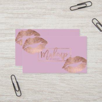 makeup typography lips rose gold lavender business card
