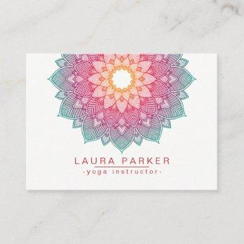 mandala lotus flower yoga pink holistic business card