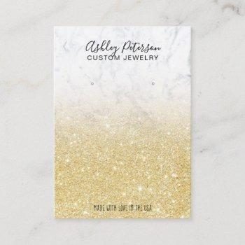 marble chic gold glitter jewelry earring display business card