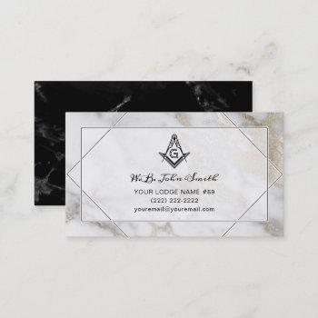 marble gold masonic business cards   freemason
