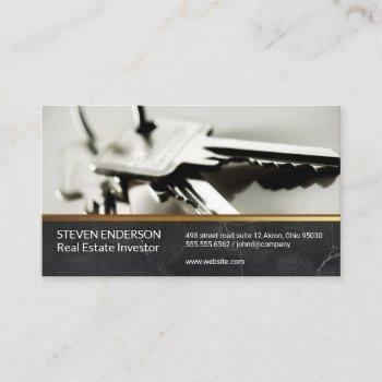 marble | gold metallic trim | keys business card