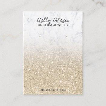 marble light gold glitter jewelry earring display business card