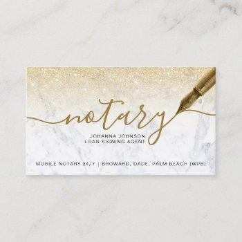 marble notary loan chic gold glitter typography business card