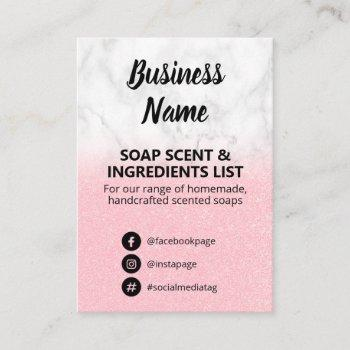 marble & pink glitter soap scent ingredients list business card