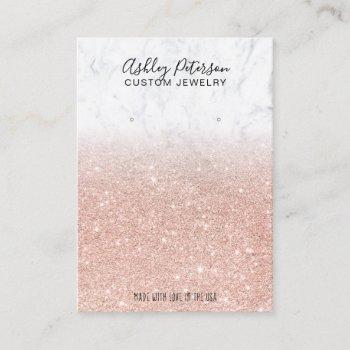 marble rose gold glitter jewelry earring display business card