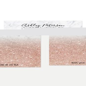 Small Marble Rose Gold Glitter Jewelry Earring Display Business Card Front View