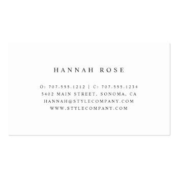 Small Marble & Rose Gold Scissors Logo Hairstylist Business Card Back View