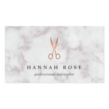 Small Marble & Rose Gold Scissors Logo Hairstylist Business Card Front View