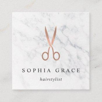 marble & rose gold scissors logo hairstylist square business card