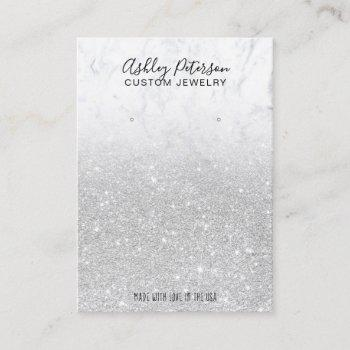 marble silver glitter jewelry earring display business card
