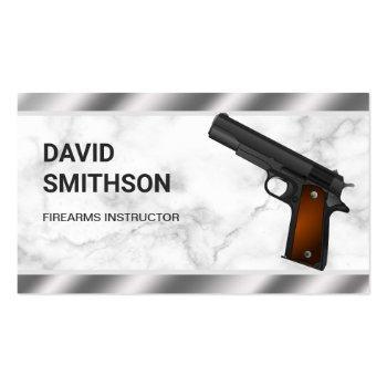 Small Marble Steel Pistol Gun Shop Gunsmith Firearms Business Card Front View