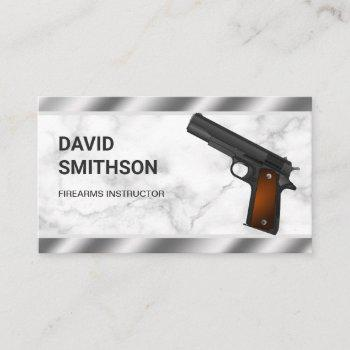 marble steel pistol gun shop gunsmith firearms business card